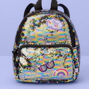 Girls sequin backpack think positively rainbow